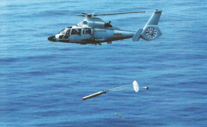 Пуск торпеды вертолетом ПЛО Z-9