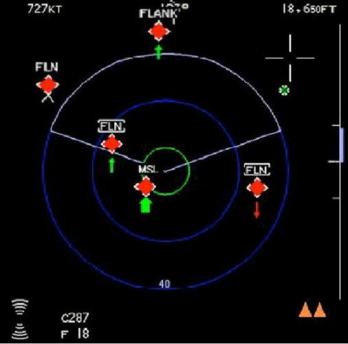 Индикация подсистема MAW. Зеленые стрелки – отсутствие угрозы. Красные – угроза для самолета.