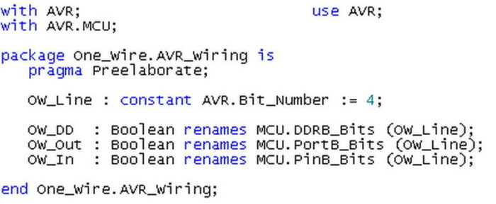 Фрагмент кода на языке Ada