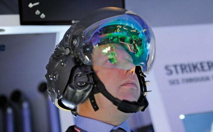 Индикация на дисплее шлема пилота