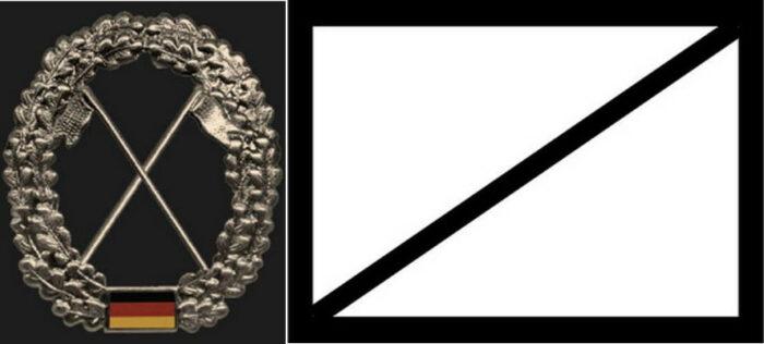 Знак принадлежности к войсковой разведке и тактический знак на карте