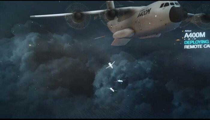 Сброс разведывательно-ударных БПЛА с А400М