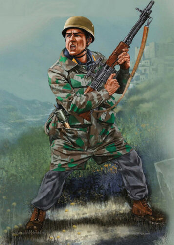 """Операция """"Айх"""". Солдат коммандос с FG-42 в Италии. Рисунок."""
