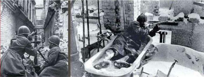 Сопротивление в развалинах Сталинграда: минометный расчет (слева), красноармеец с автоматом ППI (справа).
