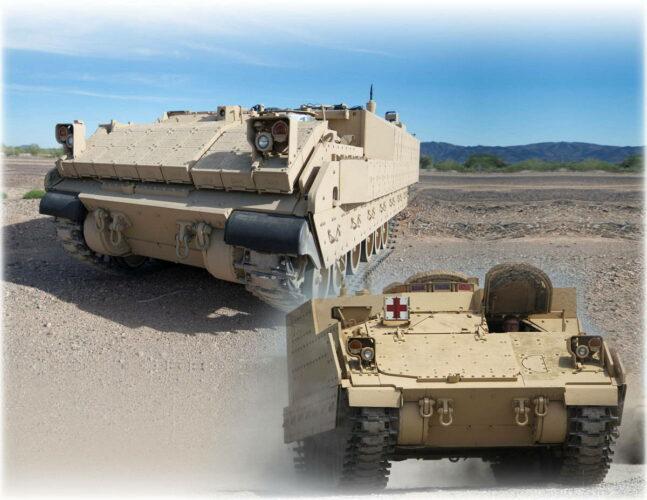 Боевая техника AMPV в вариантах универсального и медико-санитарного БТР