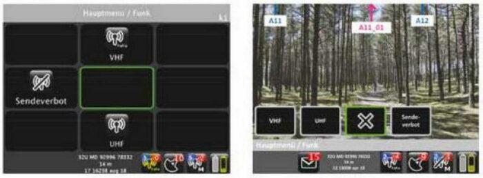"""Управляющее меню базовой версии ПБ (слева) и меню ПБ-РС уровня """"К"""" с одновременным отображением местности на мониторе"""