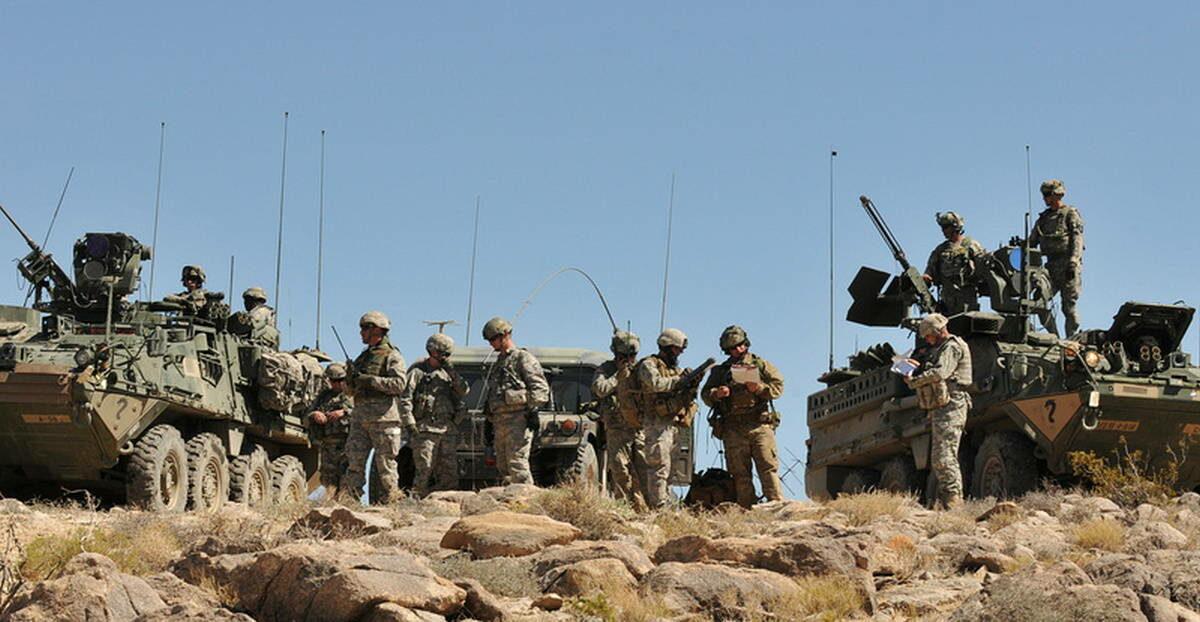 Подразделение армии США на учении
