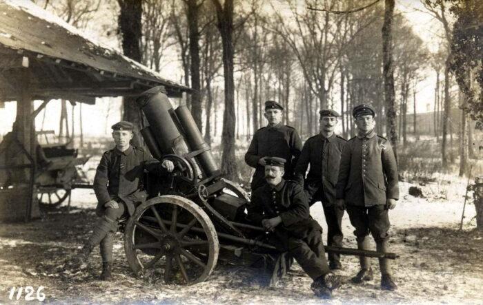 Немецкий миномет времен Первой мировой войны