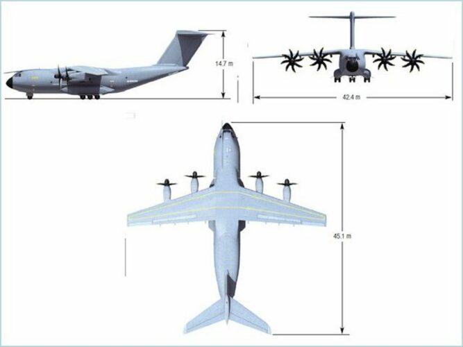 Основные размеры самолета А400М