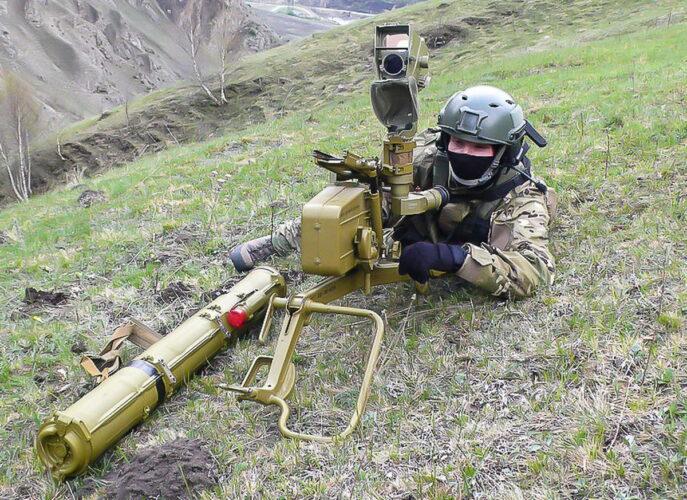 Развертывание ПТУР на учениях в горах