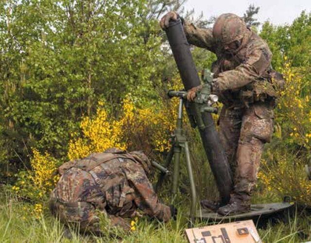 Развертывание 120 мм миномета на огневой позиции
