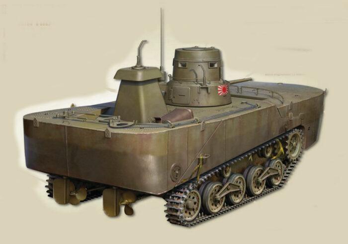 "Плавающий танк Тип 2 ""Ка-Ми"" с понтонами. Вид сзади."