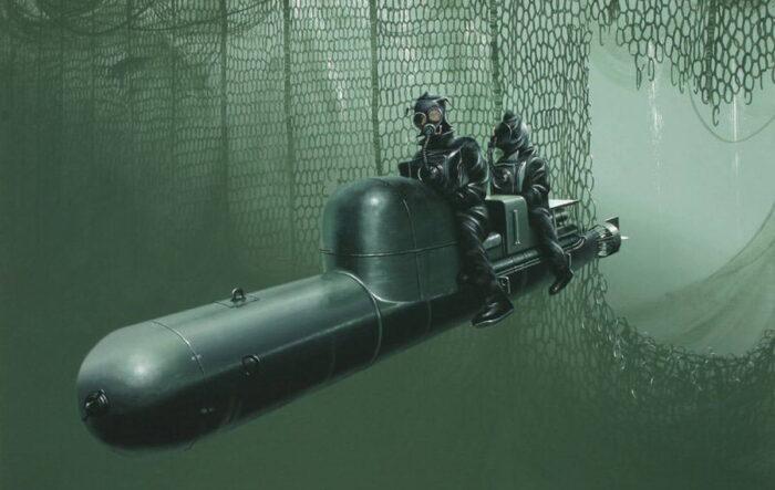 Для проникновения в гавань прорезали противолодочные защитные сети