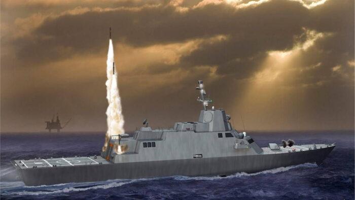 Малый надводный боевой корабль. Эскиз.