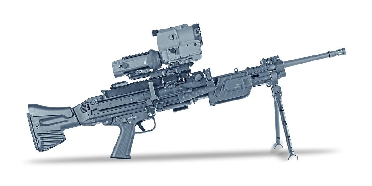 Пулемет MG4 с прицельными устройствами на шинах ствольной коробки