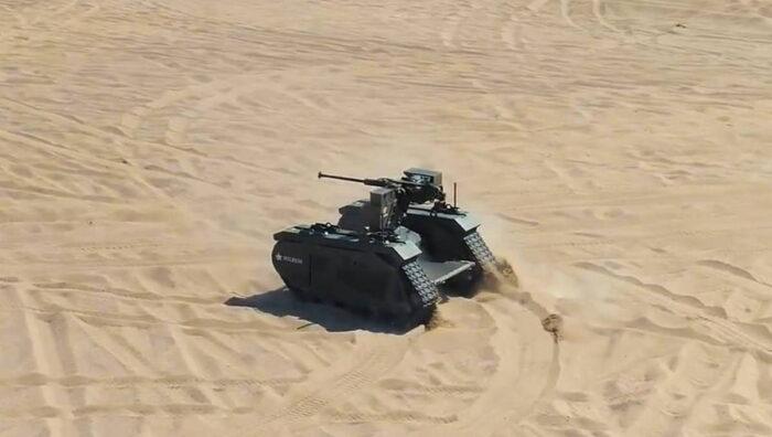 THEMIS  с оружейной станцией . Испытание  в пустыне