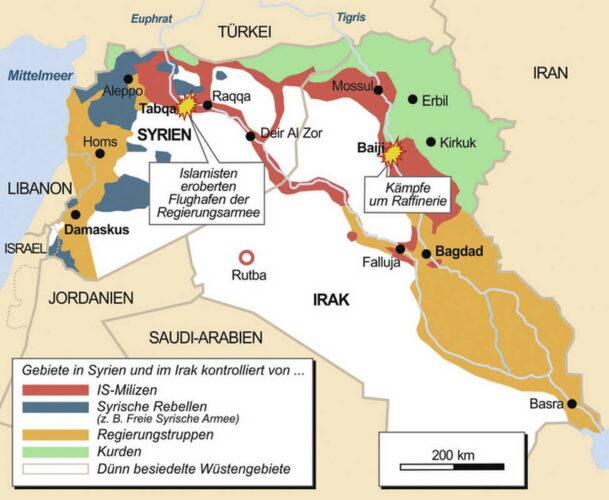 Территории под контролем ИГ по состоянию на конец 2014 г.