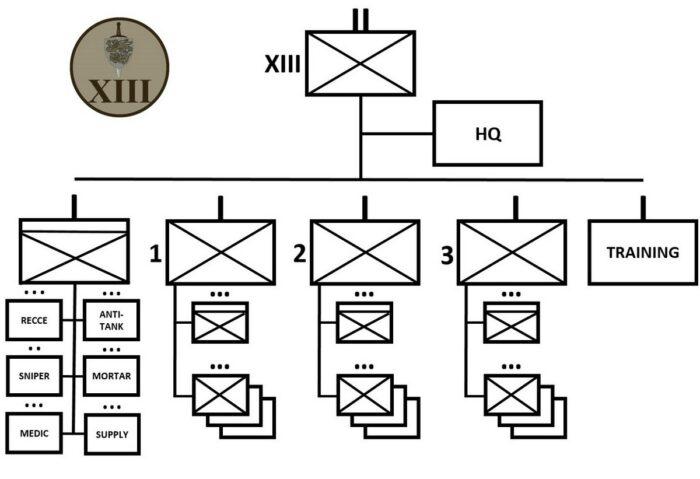 Организационная структура 13 легкого пехотного батальона