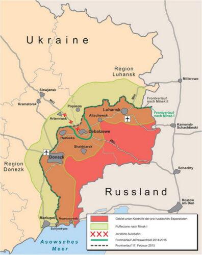 Карта зоны боевых действий перед битвой за Дебальцево