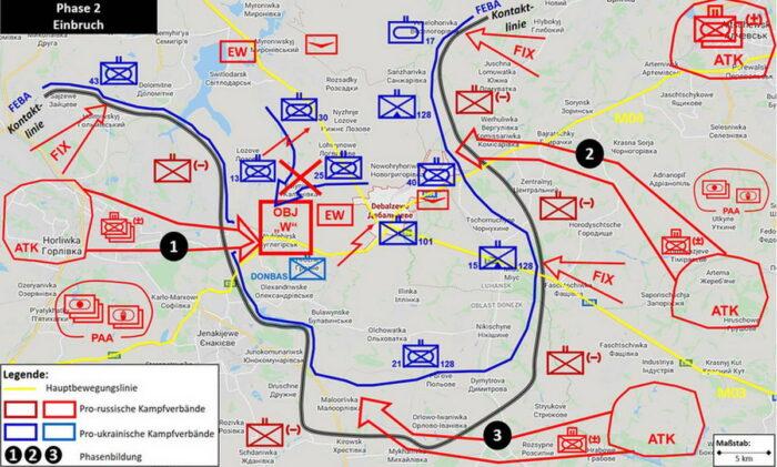 Согласованные наступательные действия и прорыв ВУО на западе (1) и продвижение наступающих с востока (2) и юга (3)