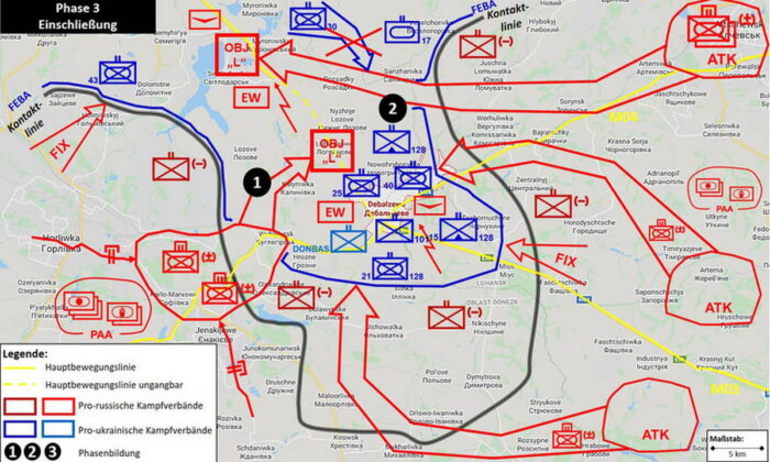 Продвижение наступающих с запада (1) и прорыв с востока, а также изоляция (2) украинских сил на фронтовом выступе