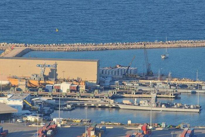 Вид на ВМБ Хайфа ВМС Израиля